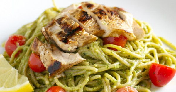 Basil and Goat Cheese Pesto Pasta with Tomatoes and Chicken