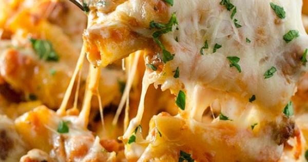 5-Cheese Baked Ziti with Tomato Cream Sauce