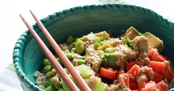 Veggie Roll Sushi Bowl with Creamy Sesame-Wasabi Dressing