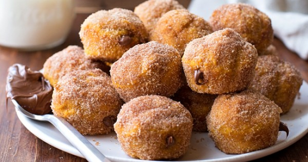 Nutella Stuffed Pumpkin Doughnut Holes