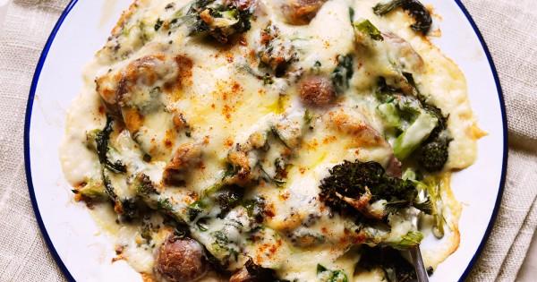 Cheesy broccoli and sausage bake
