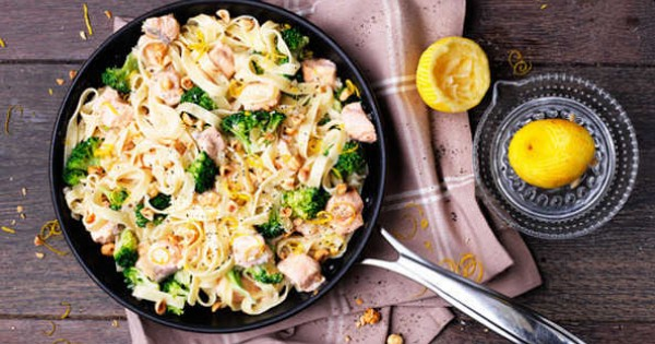 Salmon and broccoli tagliatelle with toasted hazelnuts