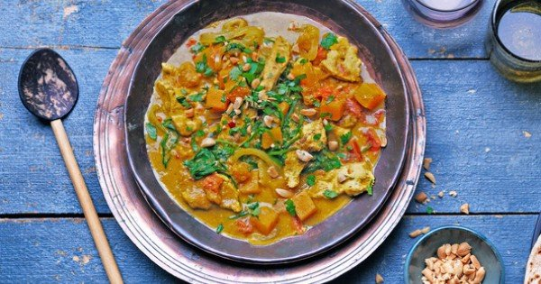 Chicken, butternut squash and peanut curry