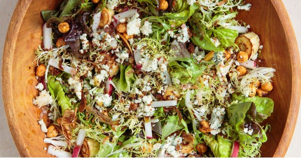 Roasted Parsnip Salad with Hazelnuts, Blue Cheese, and Wheat Beer Vinaigrette