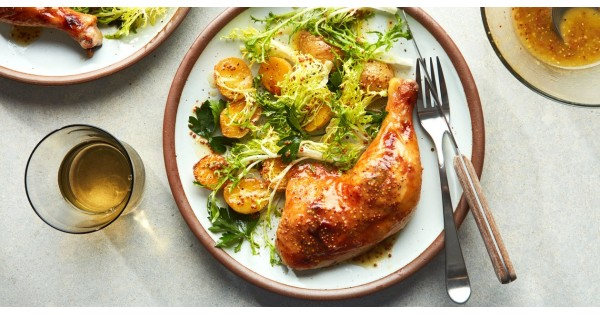 Double-the-Mustard Chicken with Potatoes and Greens