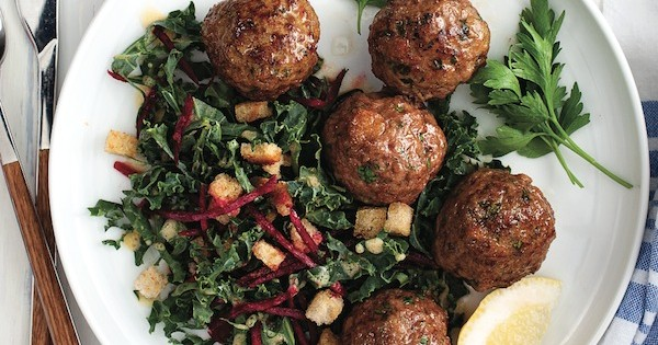 Nordic meatballs with beet and kale salad