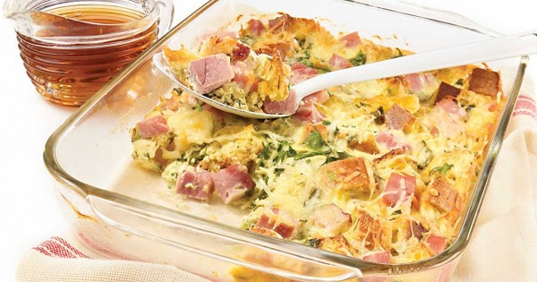 Ham and OKA cheese breakfast casserole