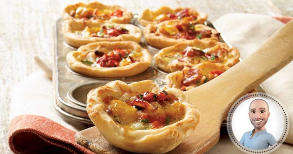 Roasted pepper mini quiches from Stefano Faita