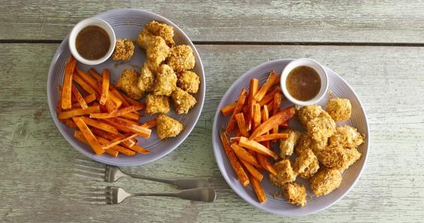 Skinny Popcorn Chicken with Sweet Potato Fries