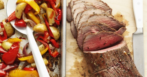 Roast Beef with Potatoes and Peppers