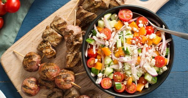 Grilled Pork Souvlaki Dinner