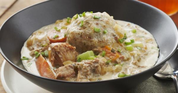 Slow-Cooked Pork Stew with Dumplings