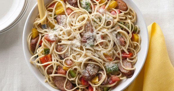 Sausage, Peppers & Tomatoes with Linguine