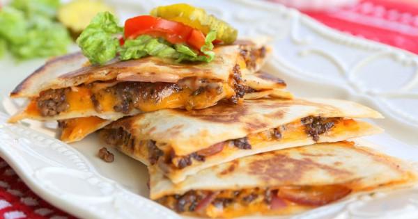 Mexi Cheeseburger Quesadillas