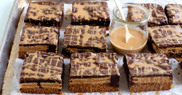 Outrageous Stacked Peanut Butter Brownies