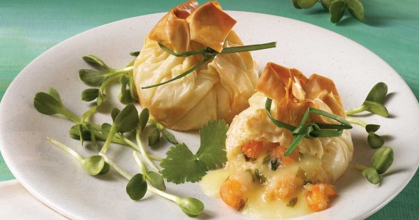 Shrimp and Brie Wrapped in Phyllo