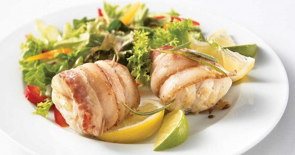 Bacon-wrapped monkfish