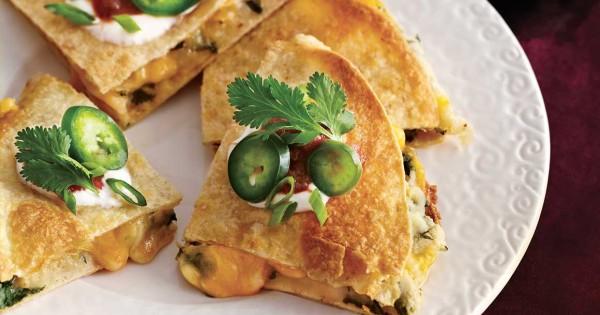Turkey, potato & cheese quesadillas