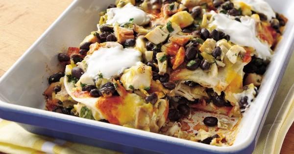 Layered Chicken-Black Bean Enchiladas