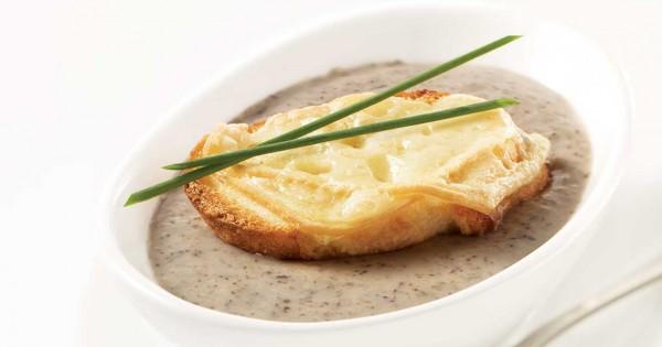 Mushroom Soup with La Tomme de Monsieur Séguin Croutons