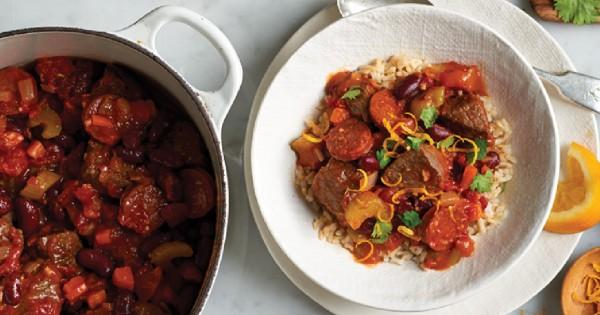 Brazilian-style beef, chorizo, and black bean stew