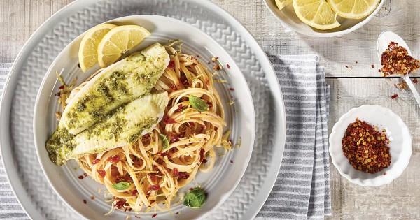 Pesto Sole Fillets With Sun-Dried Tomato Linguine