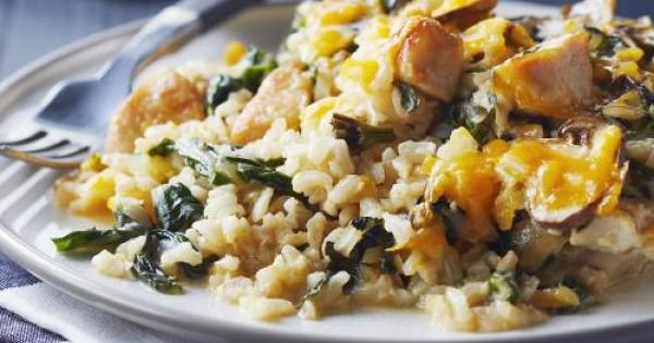 Cheesy Brown Rice, Swiss Chard & Chicken Bake
