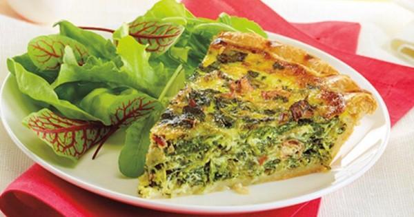 Spinach & proscuitto Quiche