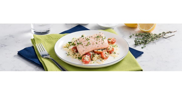 Lemon Herb Butter Poached Salmon with Couscous