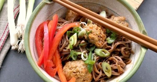 Korean Turkey Meatballs with Noodles