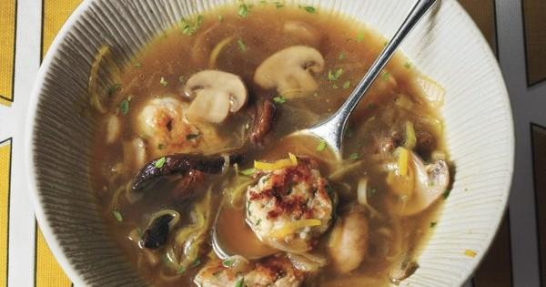 Mushroom and Leek Soup?with Parsley Dumplings