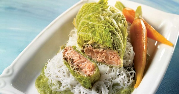 Cabbage-Wrapped Salmon on a Vegetable Coulis
