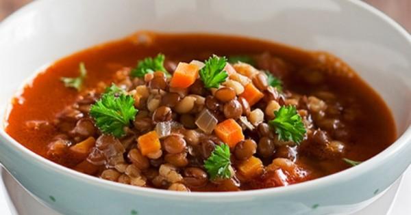 Moroccan Red Lentil Vegetarian Soup